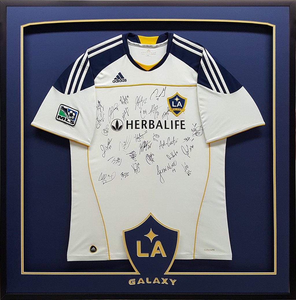 7f8a91ddfb2 A shadow box for Sports Jersey (the Galaxy soccer team) with custom  designed mats